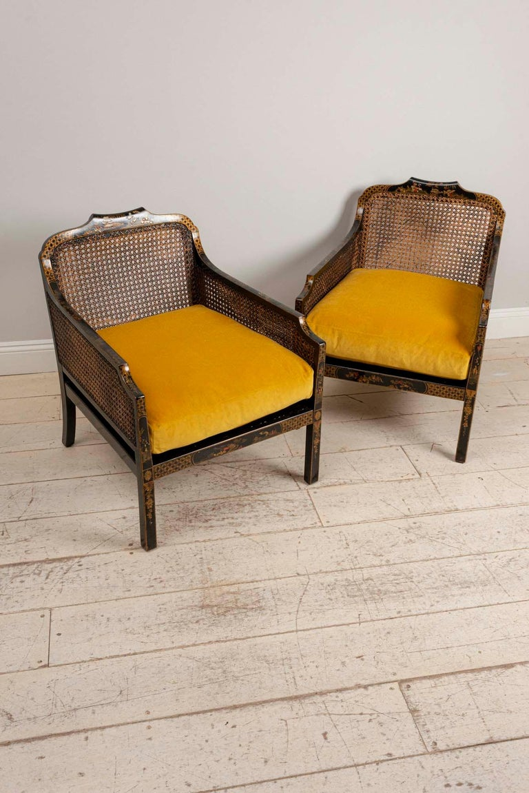 Caning Pair of 1920s English Japanned Armchairs with Chinoiserie Decoration