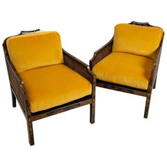 Pair of 1920s English Japanned Armchairs with Chinoiserie Decoration