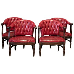 Pair of 1920's English Red Studded Club Chairs