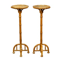 Pair of 1920s Faux Bamboo Stands with Octagonal Rattan Tops and Quadripod Bases