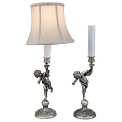 Pair of 1920s French Silver Cherubs Candlestick Table Lamps