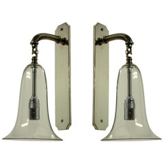 Pair of 1920s Glass Bell Wall Sconces