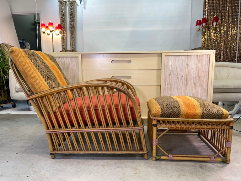 Pair of 1920s Heywood Wakefield Rattan Lounge Chairs For Sale 5