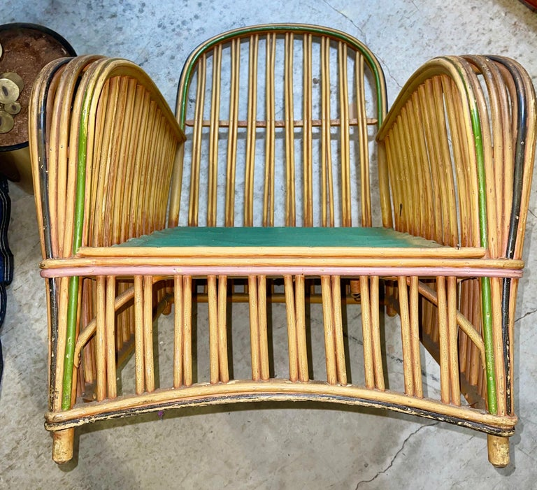 Pair of 1920s Heywood Wakefield Rattan Lounge Chairs For Sale 8
