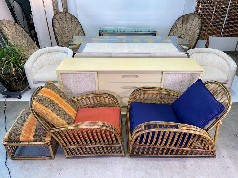 Pair of 1920s Heywood Wakefield Rattan Lounge Chairs For Sale 9