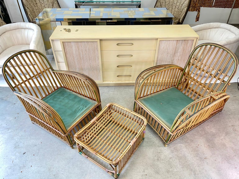 Pair of 1920s Heywood Wakefield Rattan Lounge Chairs For Sale 10