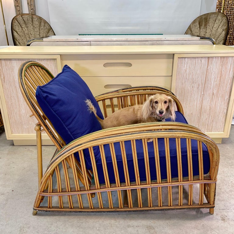 Pair of 1920s Heywood Wakefield Rattan Lounge Chairs For Sale 12