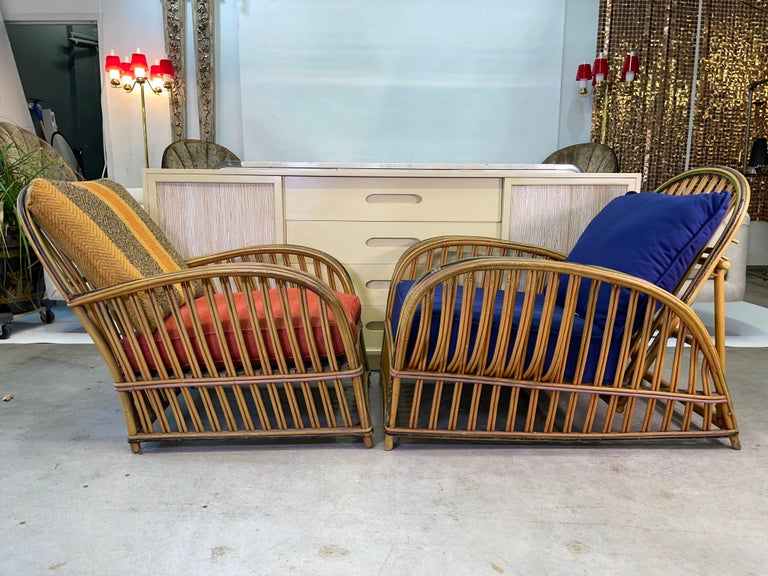 Art Deco Pair of 1920s Heywood Wakefield Rattan Lounge Chairs For Sale