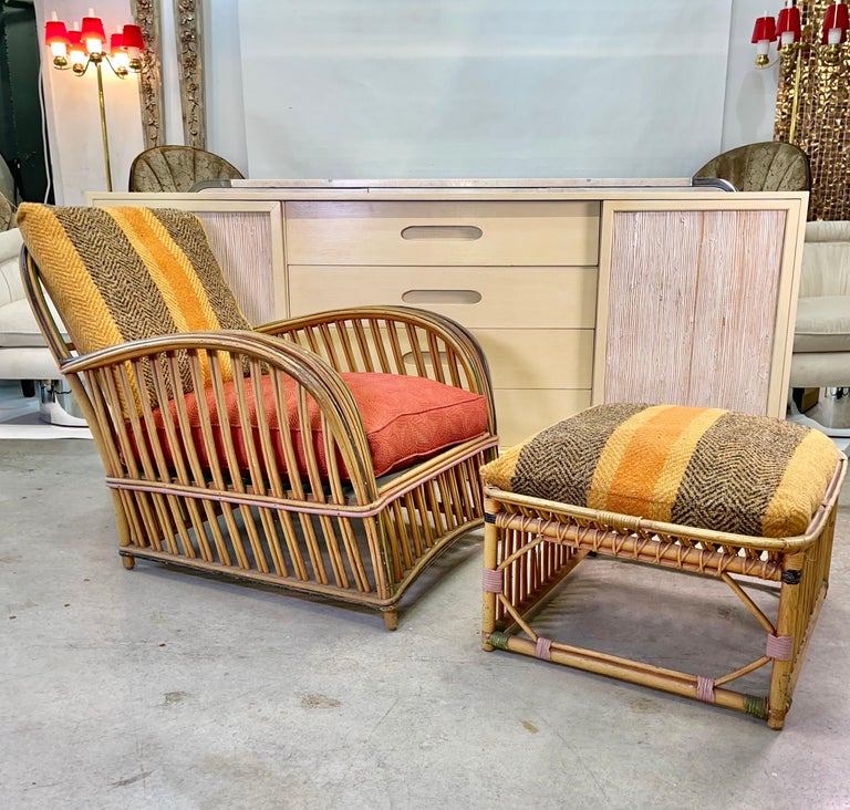 American Pair of 1920s Heywood Wakefield Rattan Lounge Chairs For Sale