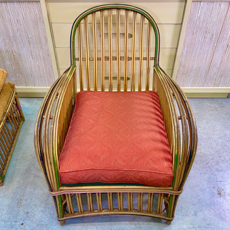 Pair of 1920s Heywood Wakefield Rattan Lounge Chairs In Good Condition For Sale In Hingham, MA