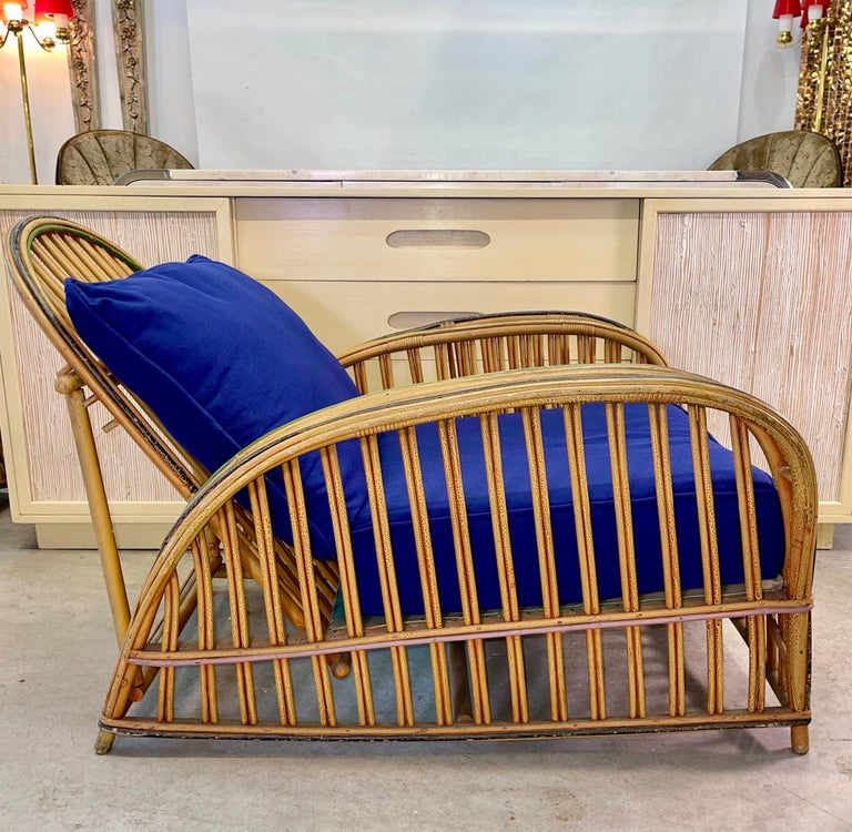 Early 20th Century Pair of 1920s Heywood Wakefield Rattan Lounge Chairs For Sale