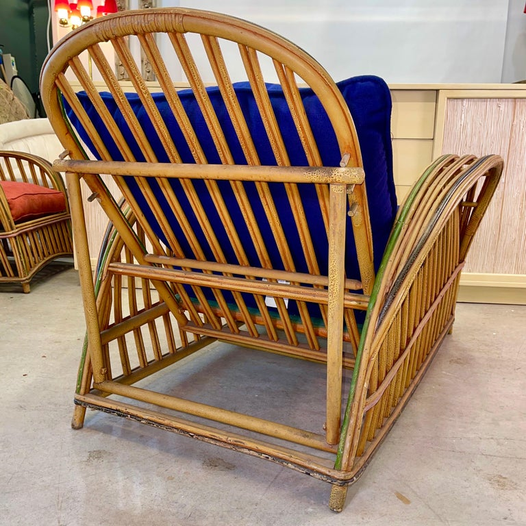 Pair of 1920s Heywood Wakefield Rattan Lounge Chairs For Sale 2