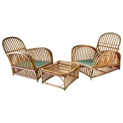 Pair of 1920s Heywood Wakefield Rattan Lounge Chairs