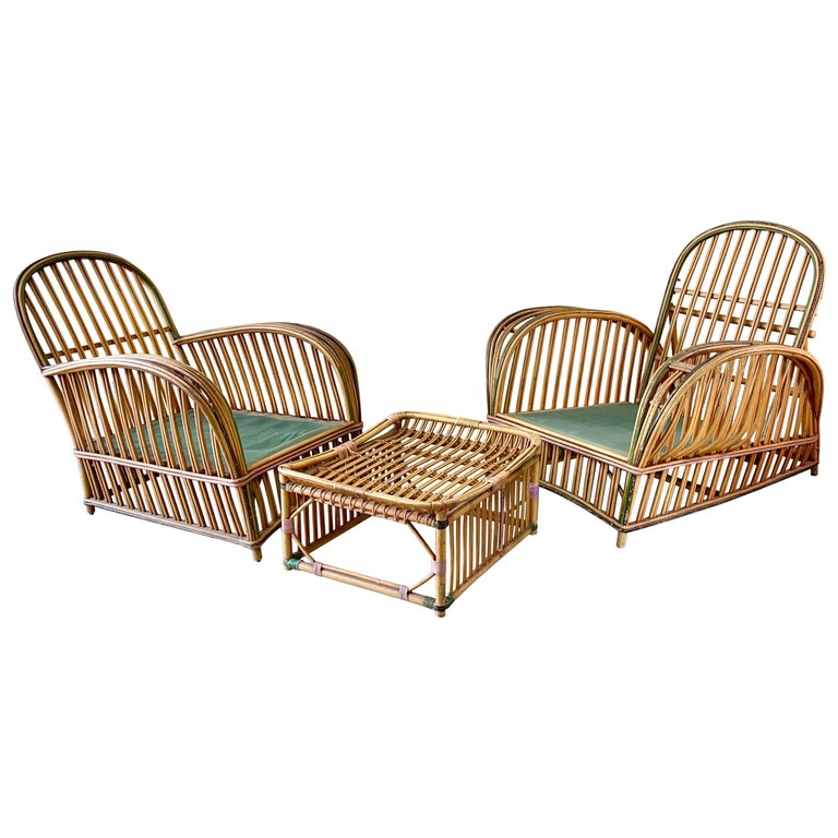 Pair of 1920s Heywood Wakefield Rattan Lounge Chairs For Sale