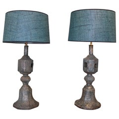 Pair of 1920s Indian Silvered Metal Bed Legs Turned Table Lamps