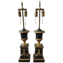 Pair of 1920s Italian Giltwood Urn Lamps