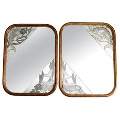 Pair of 1920s Italian Mirrors with Etched Fish and Gilt Frames
