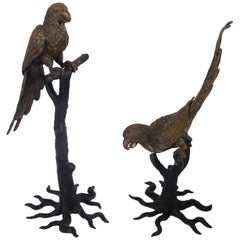Pair of 1920s Naturalistic Gothic Painted Brass Parrot Bird Sculptures