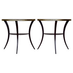 Pair of 1920s Neoclassical Style Demilune Klismos Tables