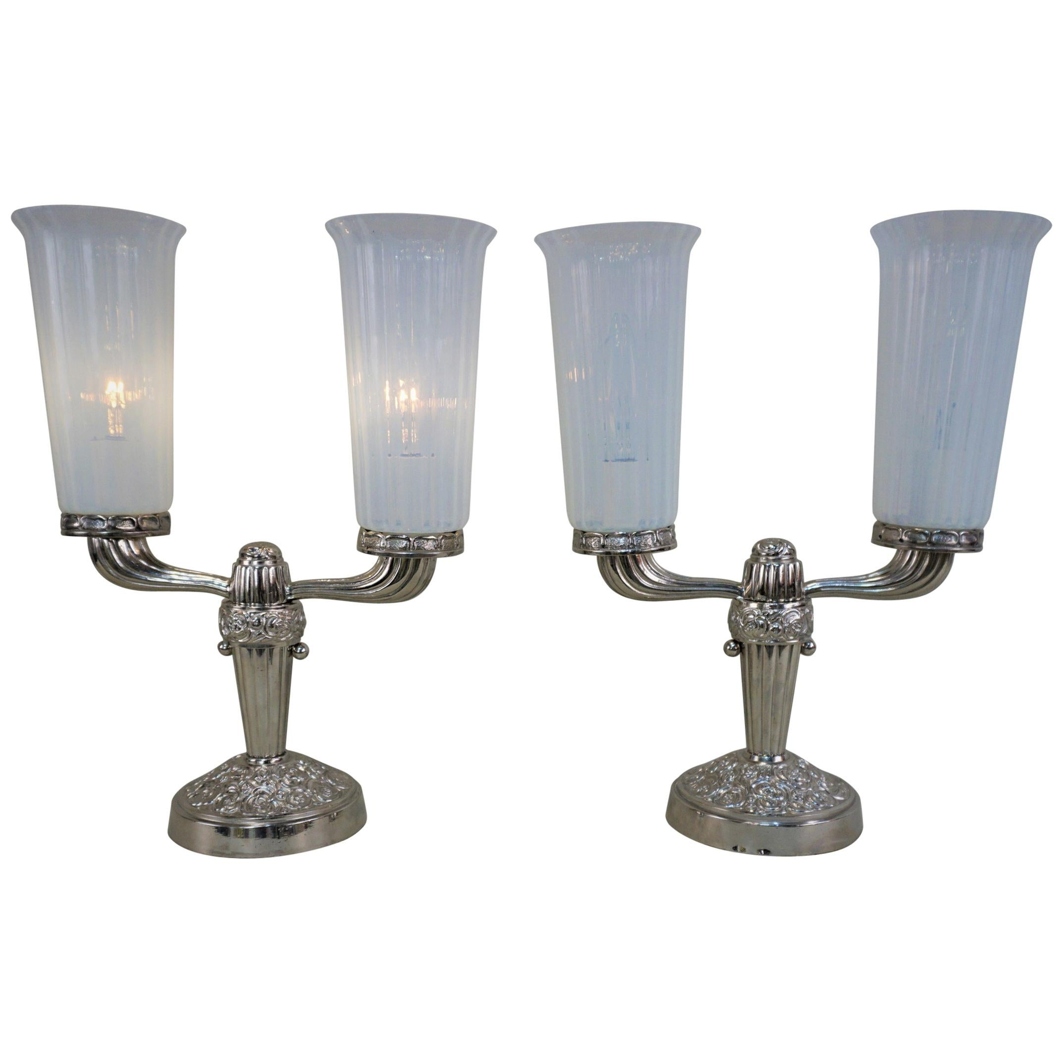 Pair of 1920s Nickel and Opaline Glass Table Lamps