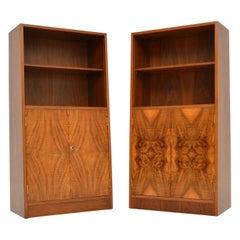 Pair of 1920s Original Art Deco Walnut Bookcase / Cabinets
