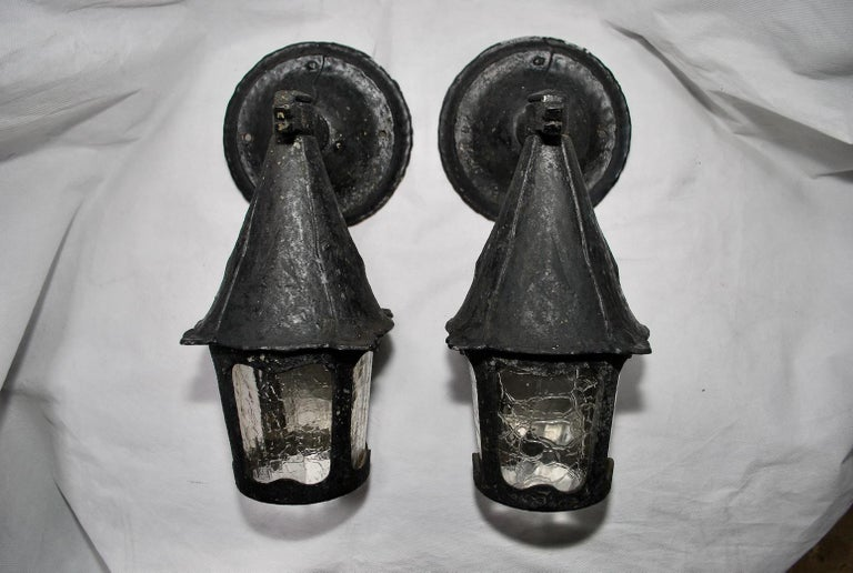 Aluminum Pair of 1920s Outdoor Sconces For Sale