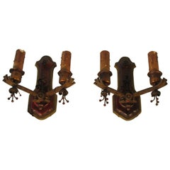 Pair of 1920s Painted Iron Sconces