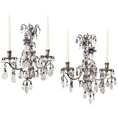 Pair of 1920s Rock-Crystal and Amethyst Sconces