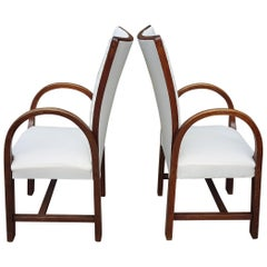 Pair of 1920s Sculptural Oak Bentwood Armchairs