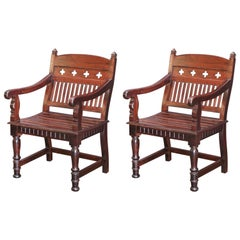 Pair of 1920s Solid Teak Wood Superbly Crafted Contoured Armchairs