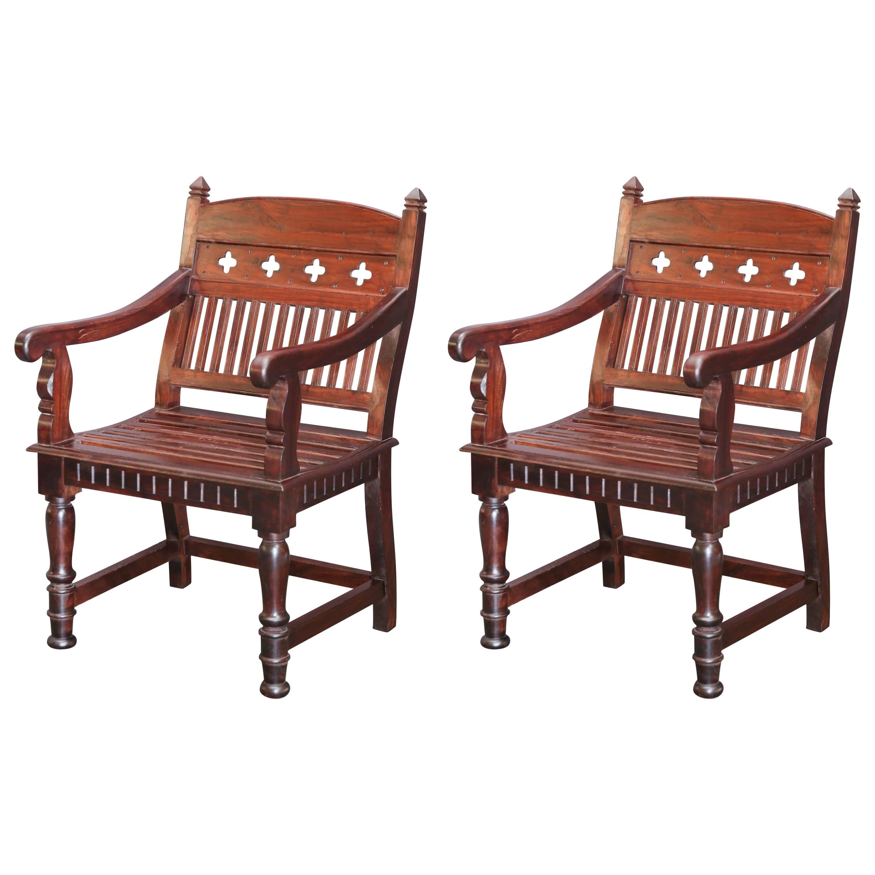 Beau Pair Of 1920s Solid Teak Wood Superbly Crafted Contoured Armchairs For Sale