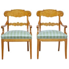 Pair of 1920s Swedish Birch Armchairs