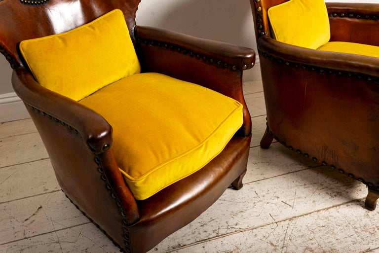 Pair of 1920s Swedish Brown Leather Studded Club Chairs by Otto Schulz For Sale 4