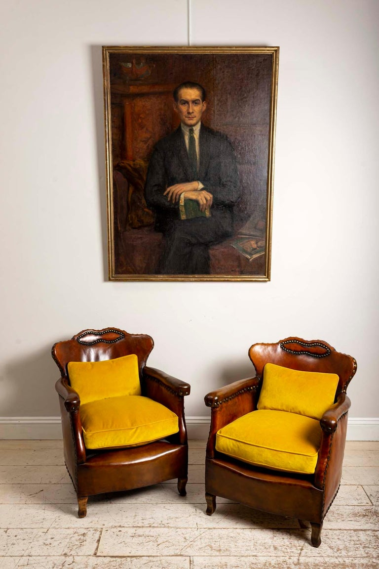 Pair of 1920s Swedish Brown Leather Studded Club Chairs by Otto Schulz For Sale 5