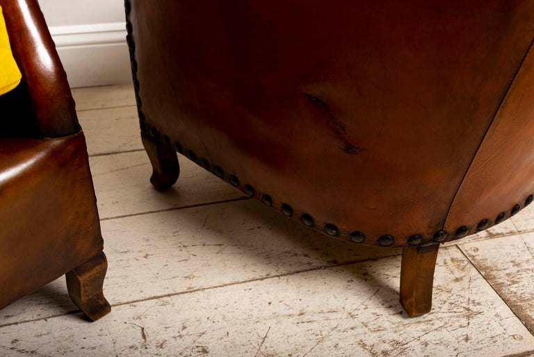 Pair of 1920s Swedish Brown Leather Studded Club Chairs by Otto Schulz For Sale 6