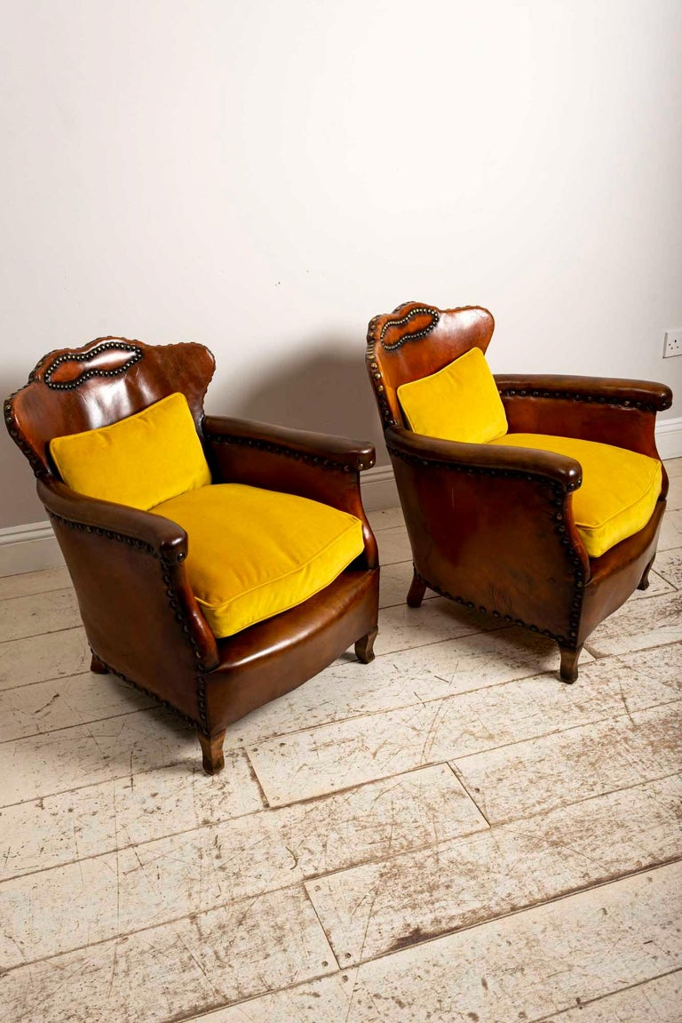 Art Deco Pair of 1920s Swedish Brown Leather Studded Club Chairs by Otto Schulz For Sale