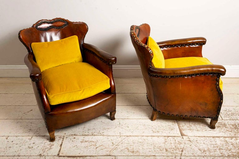 Brass Pair of 1920s Swedish Brown Leather Studded Club Chairs by Otto Schulz For Sale