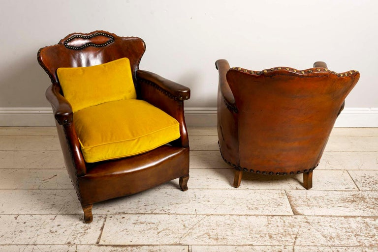 Pair of 1920s Swedish Brown Leather Studded Club Chairs by Otto Schulz For Sale 1