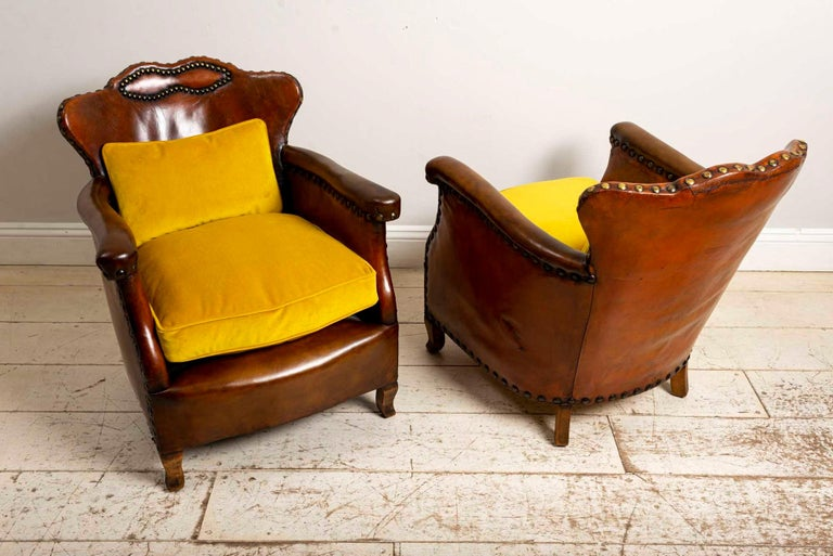 Pair of 1920s Swedish Brown Leather Studded Club Chairs by Otto Schulz For Sale 2