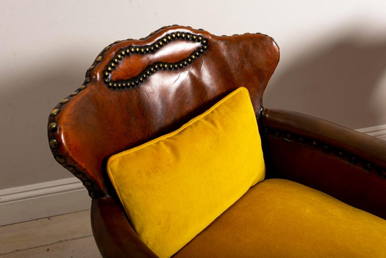 Pair of 1920s Swedish Brown Leather Studded Club Chairs by Otto Schulz For Sale 3