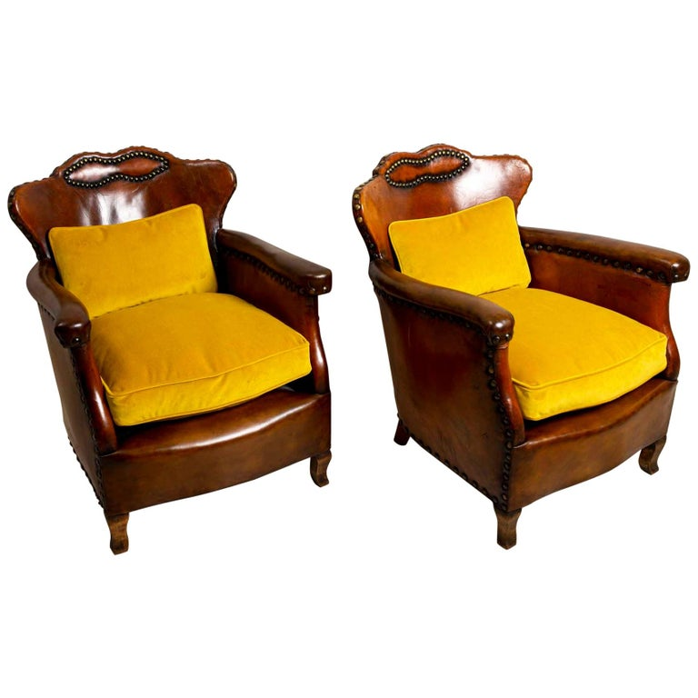 Pair of 1920s Swedish Brown Leather Studded Club Chairs by Otto Schulz For Sale