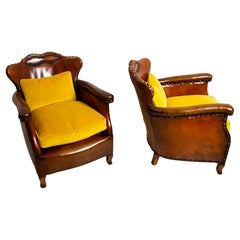 Pair of 1920s Swedish Brown Leather Studded Club Chairs by Otto Schulz