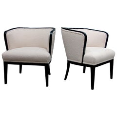 Pair of 1920s Swedish Tub Armchairs Newly Upholstered with a Boucle Fabric