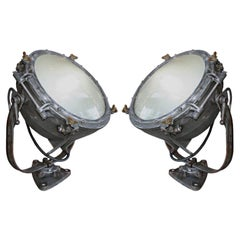 Pair of 1920s Westinghouse Industrial Iron Flood Lights