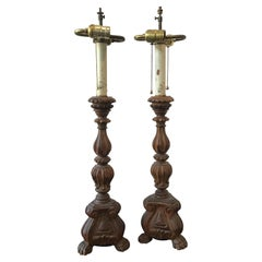 Pair of 1920s Wood Italian Alter Stick Lamps