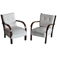 Pair of 1930s-1940s Danish Easy Chairs with Open Armrests by Fritz Hansen