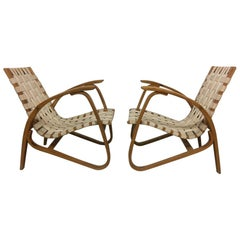 Pair of 1930s Bentwood, woven straps Armchairs by Jan Vanek.