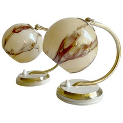 Pair  1930s Art Deco Bauhaus Table Lamps Lights, Brass and Opaline Marble Glass
