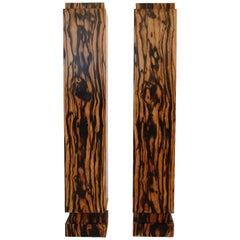 Pair of 1930's Art Deco Calamander Wood Veneered Plinths Stands / Columns