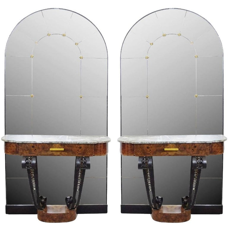 Pair of 1930s Art Deco Consoles in Burl Wood, Marble and Cast Iron with Mirror